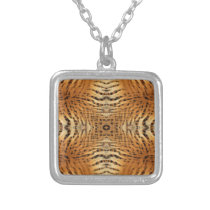 Kaleidoscope Tiger Fur Pattern Silver Plated Necklace