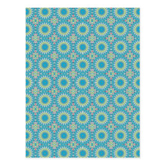 Kaleidoscope with shades of blue postcard
