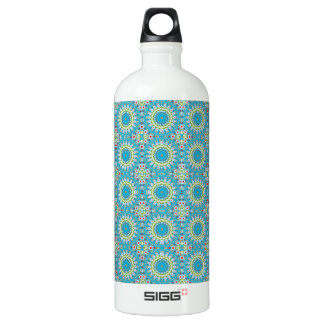 Kaleidoscope with shades of blue water bottle