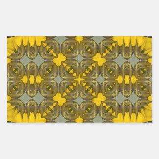 Kaleidoscope Yellow Flora Image 1 Rectangular Sticker