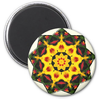 Kaleidoscope Yellow Tiger Lily Abstract Design 2 Inch Round Magnet