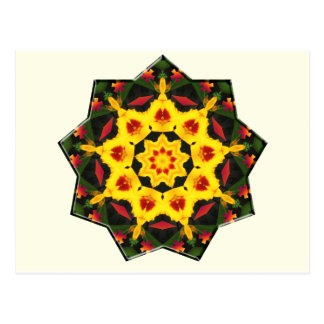 Kaleidoscope Yellow Tiger Lily Abstract Design Postcard