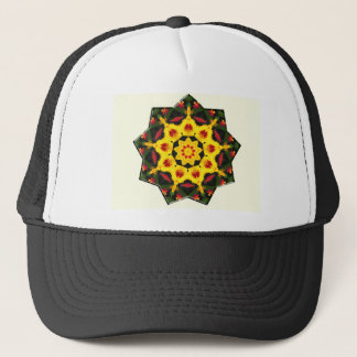 Kaleidoscope Yellow Tiger Lily Abstract Design Trucker Hat