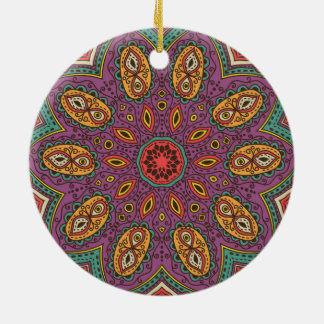 Kaleidoscope Yoga Pattern Ceramic Ornament