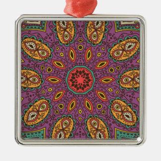 Kaleidoscope Yoga Pattern Metal Ornament