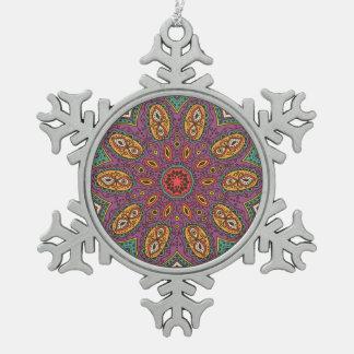 Kaleidoscope Yoga Pattern Snowflake Pewter Christmas Ornament