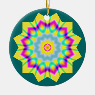 Kaleidoscopic 260614(1) Double-Sided ceramic round christmas ornament
