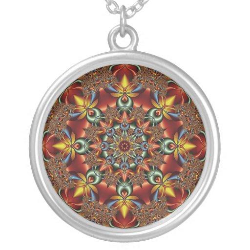Kaleidoscopic fantasy round pendant necklace