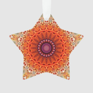 Kaleidoscopic Flower Orange And White Design