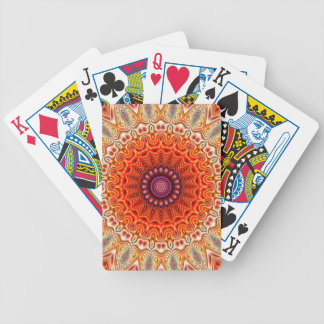 Kaleidoscopic Flower Orange And White Design Bicycle Playing Cards