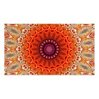 Kaleidoscopic Flower Orange And White Design Business Card