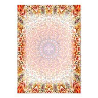 Kaleidoscopic Flower Orange And White Design Card