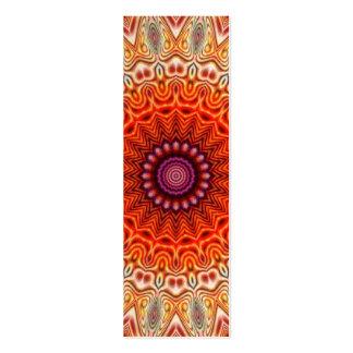 Kaleidoscopic Flower Orange And White Design Mini Business Card