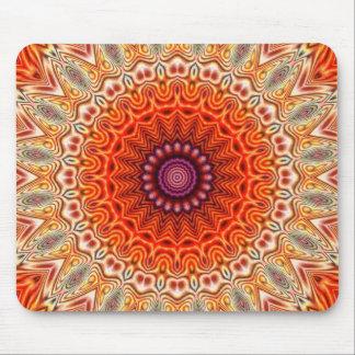 Kaleidoscopic Flower Orange And White Design Mouse Pad