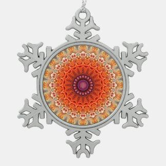 Kaleidoscopic Flower Orange And White Design Ornament