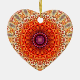Kaleidoscopic Flower Orange And White Design Christmas Ornament