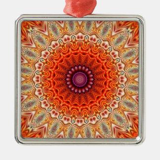 Kaleidoscopic Flower Orange And White Design Christmas Tree Ornament