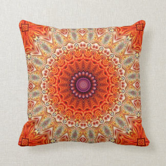 Kaleidoscopic Flower Orange And White Design Throw Pillows