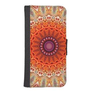Kaleidoscopic Flower Orange And White Design iPhone 5 Wallet Cases