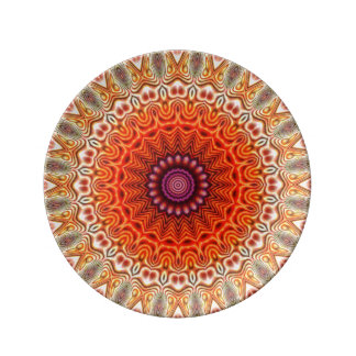 Kaleidoscopic Flower Orange And White Design Porcelain Plate