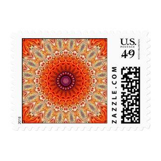 Kaleidoscopic Flower Orange And White Design Postage Stamp