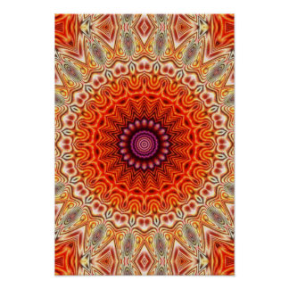 Kaleidoscopic Flower Orange And White Design Poster