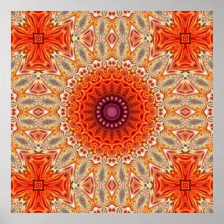 Kaleidoscopic Flower Orange And White Design Poster