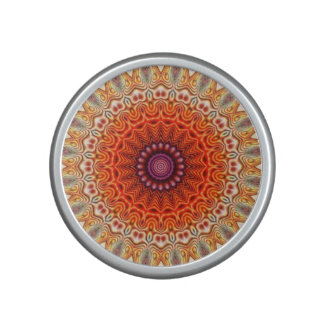 Kaleidoscopic Flower Orange And White Design Speaker