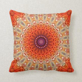 Kaleidoscopic Flower Orange And White Design Throw Pillow