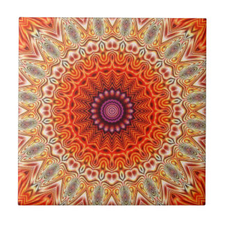 Kaleidoscopic Flower Orange And White Design Tile