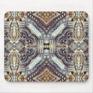 Kaleidoscopic grey Gold Medallion steampunk gears Mouse Pad