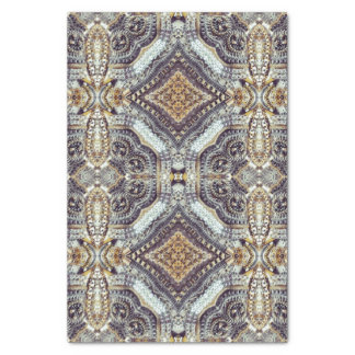 Kaleidoscopic grey Gold Medallion steampunk gears Tissue Paper