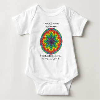 Kaleidoscopic Hot Air Balloon 5- To Learn to Fly Baby Bodysuit