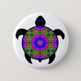 Kaleidoscopic Mandala Turtle Design Button