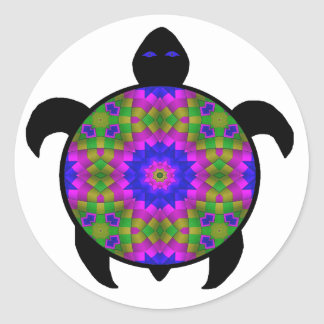 Kaleidoscopic Mandala Turtle Design Classic Round Sticker
