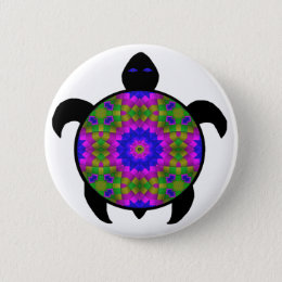Kaleidoscopic Mandala Turtle Design Pinback Button