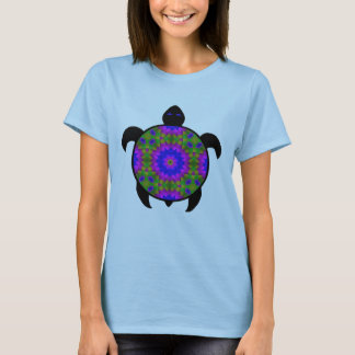 Kaleidoscopic Mandala Turtle Design T-Shirt