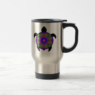 Kaleidoscopic Mandala Turtle Design Travel Mug