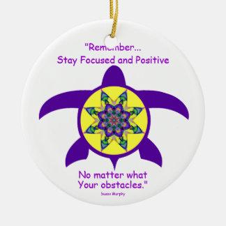 Kaleidoscopic Mandala Turtle Ornament.5 Ceramic Ornament