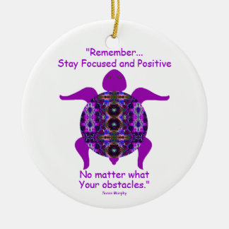 Kaleidoscopic Mandala Turtle Ornament.6 Double-Sided Ceramic Round Christmas Ornament