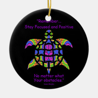 Kaleidoscopic Mandala Turtle Ornament.7 Ceramic Ornament