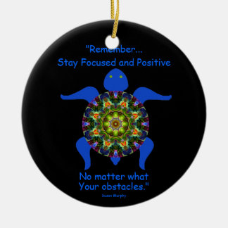 Kaleidoscopic Mandala Turtle Ornament.8 Ceramic Ornament