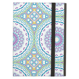 Kaleidoscopic Medallion in Purple & Blue on White Cover For iPad Air