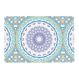 Kaleidoscopic Medallion in Purple & Blue on White Placemat