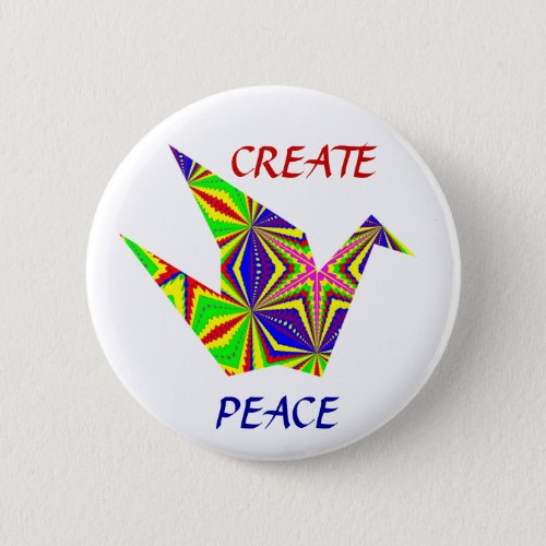 Kaleidoscopic Peace Crane Button