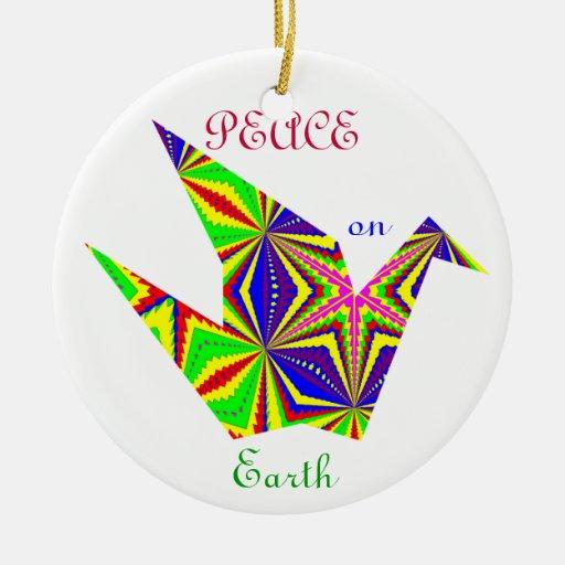 Kaleidoscopic Peace Crane Ornament. 1 Double-Sided Ceramic Round Christmas Ornament