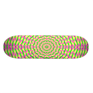 Kaleidoscopic Pink and Yellow Weave Skate Board