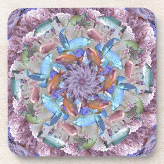 Kaleidoscopic Seascape in Bright Pastels Beverage Coaster