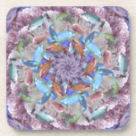 Kaleidoscopic Seascape in Bright Pastels Beverage Coasters