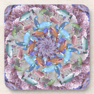 Kaleidoscopic Seascape in Bright Pastels Drink Coasters